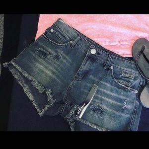 STS Blue - Black distressed denim shorts